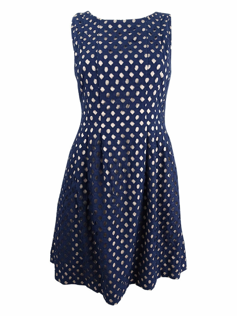 Vince Camuto Woherren Cutout A-Line Dress (4, Navy Nude)