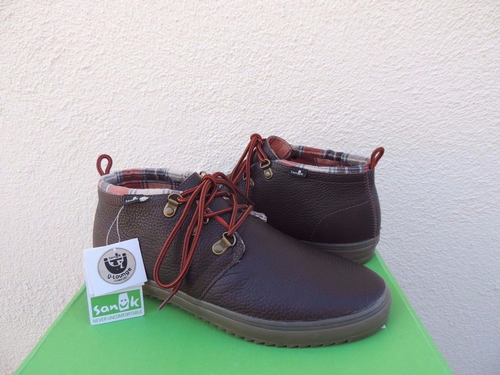 SANUK CARGO DELUXE BROWN LEATHER CHUKKA ANKLE BOOTS, US 9/ ~NWT