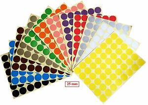 Image is loading 25mm-Coloured-Dots-Round-Stickers-Sticky-Adhesive-Spot-