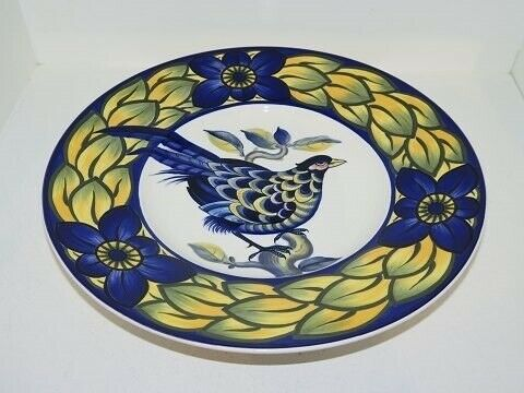 Porcelæn, Blå Fasan  Middagstallerken / rundt fad 25 cm.,