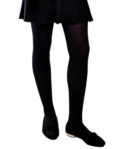3 /& 5pack by Aurellie Black Plain School Opaque Tights Girl/'s 8-10 Years 2