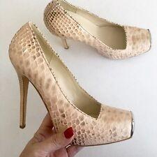 Alexander Mcqueen $925 Beige Cream Python Platform 8.5/39 Shoe Snakeskin Heels