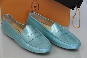 Tod's Cuir Sarcelle Plats Bleu Gommini Neuf Chaussures 10 Mocassins Verni QxrCBdoeW