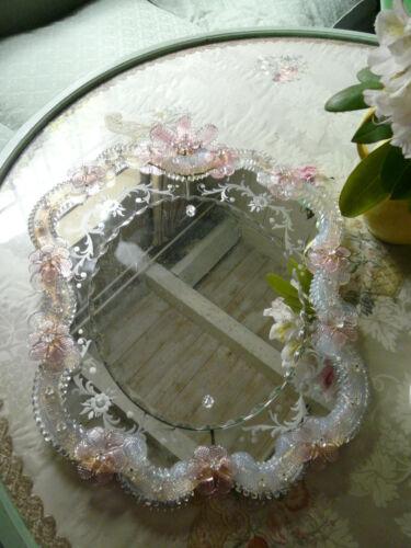 Alter Murano Spiegel Opalglas Venedig old mirror Venice opaline glass  Murano
