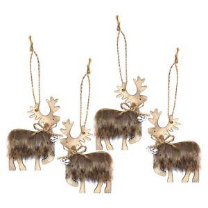 Pack-of-4-Wood-Wooden-Brown-Fluffy-Reindeer-Christmas-Tree-Hanging-Pendants