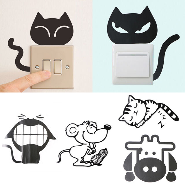 Kitty Switch Decal Kids Room Removable Decal Vinyl Mural Art PVC Wall Sticker