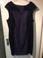 NEW Women's Connected Apparel UK 20 Navy Blue Velvet Sparkly Panel Dress