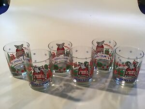 Bud-Light-Spuds-Mackenzie-Vintage-Christmas-Rocks-Glass-1987-Lot-Of-6