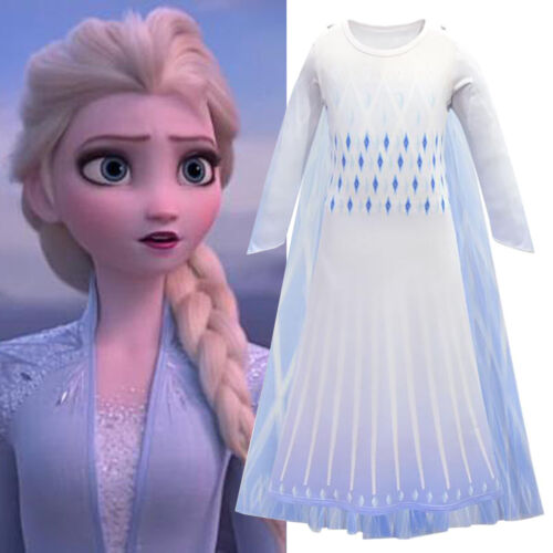 Cosplay Costumes Kid Fancy Dress Up Outfit Girls Frozen2 Queen Elsa Party 3-12 Y