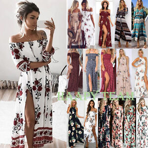 Women-Bohemian-Vintage-Long-Maxi-Dress-Floral-Print-Summer-Beach-Party-Sundress