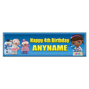 Customize Name Sign Doc McStuffins #1-10x31 Personalized Name Poster with Hard Frame Birthday Party Banner