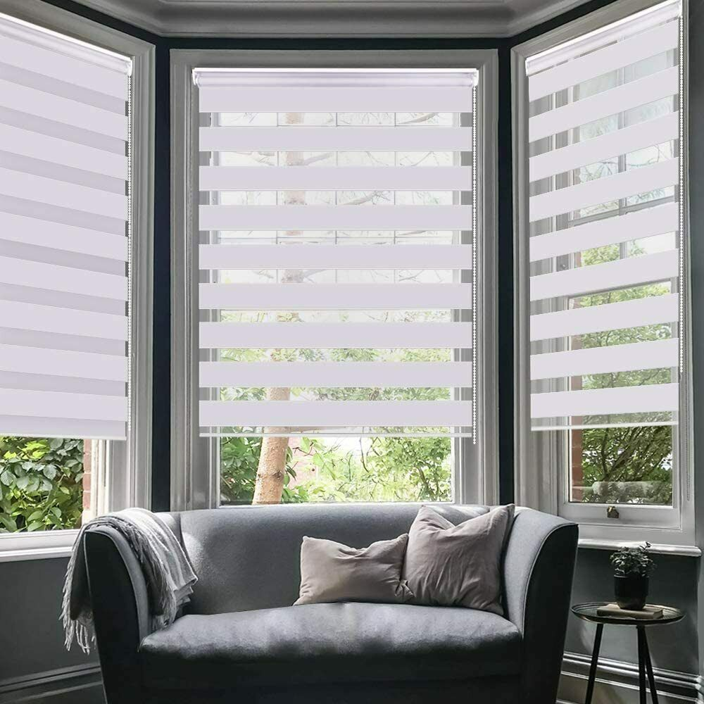 Seeye Zebra Shade Blinds Horizontal Window Curtain Day And Night 19 7 59 Grey For Sale Online Ebay
