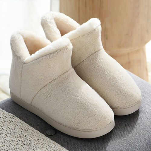 Womens Mens Outdoor Slip On Shoes Winter Warm Indoor Fur Lined Ankle Snow Boots