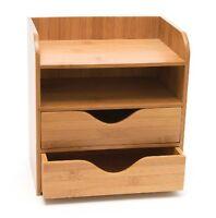 4 Tier Desk Organizer Wood Rack Office Storage Craft Paper Letter Tray Gadget