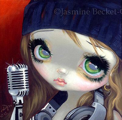 Fairy Face 186 Jasmine Becket-Griffith SIGNED 6x6 PRINT DJ hip hop music faery