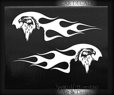 Eagle & Flames Vinyl Decal sticker motorcycle truck window gas tank Patriotic