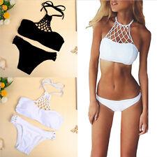 Women Halter Bikini Set Bandage Push-Up Bra Padded Swimwear Monokini Swimsuit#@