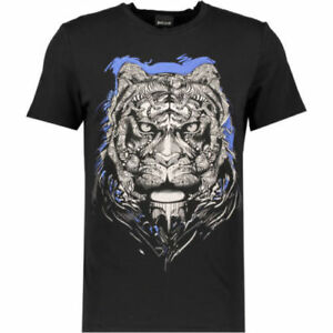 d708e939782 JUST CAVALLI Men s Black and Blue Tiger Print T-Shirt - size Medium ...