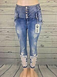 3022cd0c8a41 Details zu Damen Jeans Original Denim Stickerei Strass Highwaist Destroyed  Blue 34-42 Stern