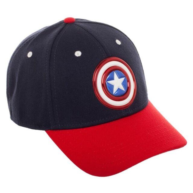 MARVEL COMICS CAPTAIN AMERICA SHIELD BLUE STRAPBACK BASEBALL CAP /'DAD HAT/'