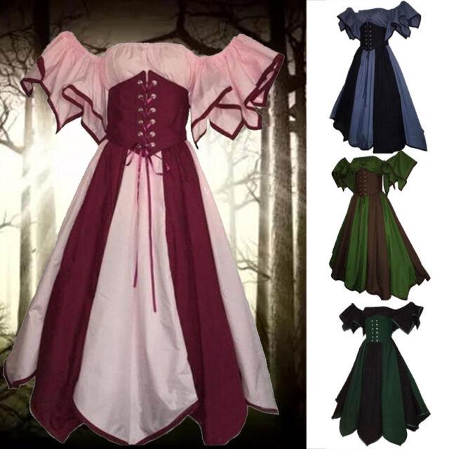 Womens Victorian Renaissance Square Neck 3//4 Sleeve Medieval Dress Cosplay Ske15