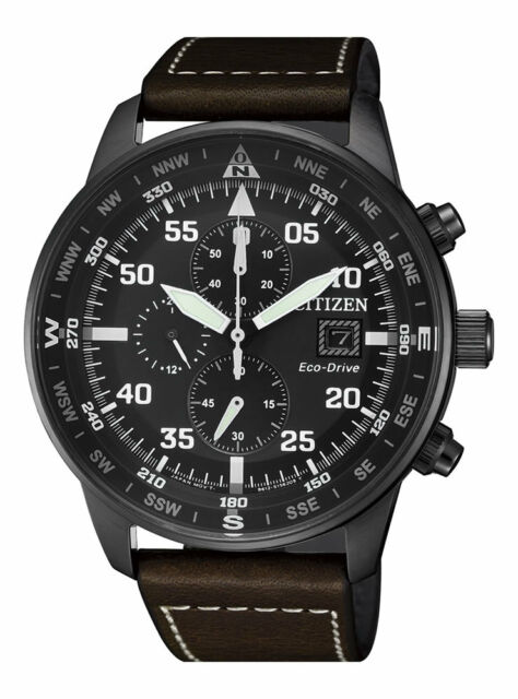 Citizen Eco Drive Ca0695 17e Chronograph Leather Strap Mens Watch 44mm For Sale Online Ebay