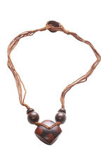 Gorgeously Crafted Chocolate Brown Square Pendant/multi- Strand Necklace(Zx174)