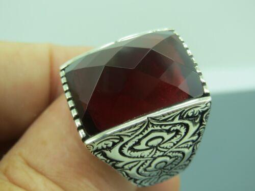 Turkish Handmade Jewelry 925 Sterling Silver Garnet Stone Men/'s Ring Sz 12