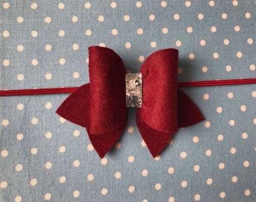 Handmade Felt Bow Glitter Baby Headband Skinny Elastic Newborn Infant Kids Lot