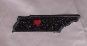 Embroidered-Black-Glitter-Sparkle-Tennessee-TN-Love-State-Patch-Iron-On-Sew-USA