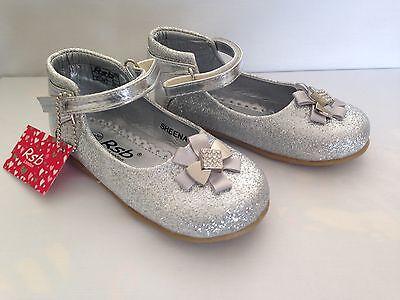 Niño Niñas Niños Brillante Plata Brillo Fiesta Boda Flores Niña Zapatos 4-10