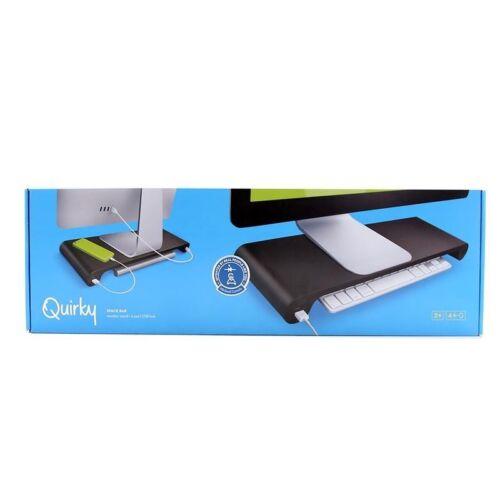 Black iMac Stand Quirky Space Bar Monitor Stand 6-Port USB Hub Desk Organizer