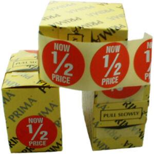 1000x Now 1/2 Price Retail Market Shop Labels Stickers 3641546011524