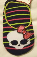 Monster High Girls Slipper Socks Shoe Size 7.5-3.5 Red Black Green Stripe