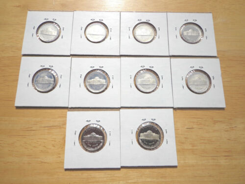 1980 1983 1984 1985 1986 1987 1988 1989 S Proof Jefferson Nickel 10 Coin Set Lot