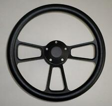 "BLACK Half Wrap 14"" BILLET Powder coated Steering wheel, adaptor & Horn Button"