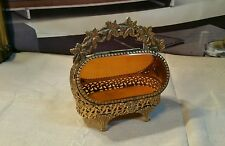 VINTAGE GOLD ORMOLU FILIGREE JEWELRY CASKET WITH BEVELED AMBER GLASS!