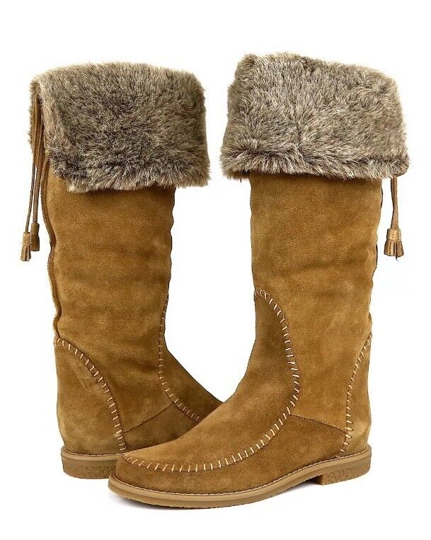Jack Rogers Women's Nell Faux Fur Suede High Boots 1197 Size 7.5