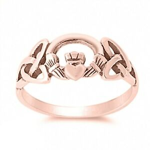 Summer Claddagh Wedding Engagement Ring 14K Rose Gold Over Silver For Her Gift