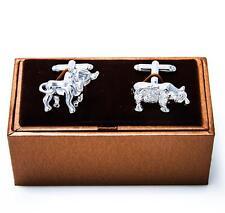 Bear Bull Cufflinks Wall Street Stock Broker Market Groom Wedding Fancy Gift Box