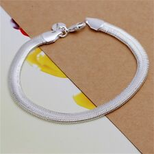 Fashion Men's Silver Plating Flat Snake Chain Bangle Bracelet Jewelry Gift HR