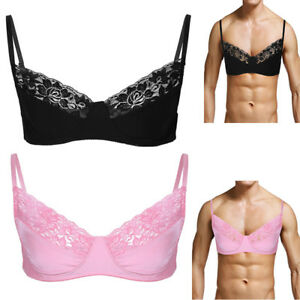ea248a3fc67a66 Details about Crossdress Mens Sissy Lingerie Bralette Bra Smooth Lace Satin  Bra Top Underwear