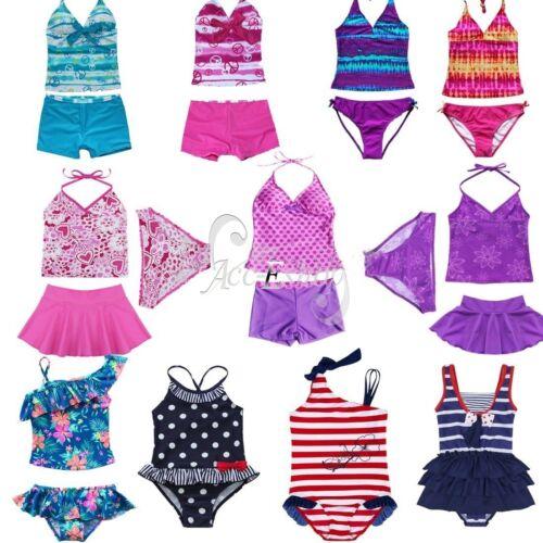 Girls Kids Halter Tankini Bikini Swimwear Swimmers Bathing Suit Swimsuit Sets