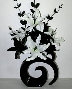Artificial Flowers Large Black White Lily Silk Flower Arrangement