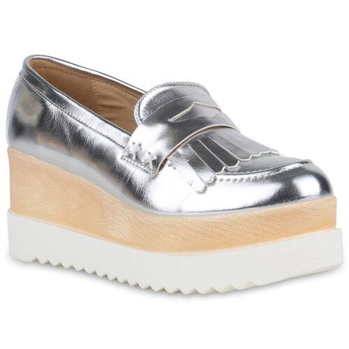 Damen Halbschuhe Plateauschuhe Wedges Lack Keilabsatz Schuhe 819421 Mode