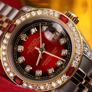 26MM-ROLEX-DIAMOND-DATEJUST-RED-VIGNETTE-18K-YELLOW-GOLD-amp-SS-WATCH