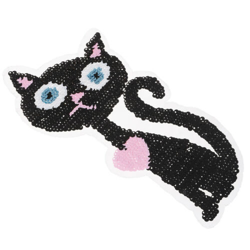 Color Changing Sequins Reversible Sew on Embroidered Cat Patches Stic ZF