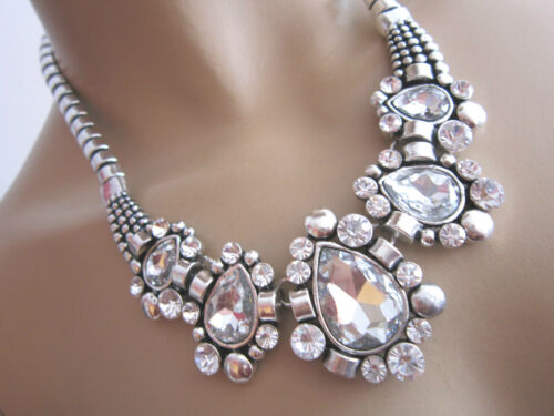 Damen Collier Hals Kette kurz Modekette Modeschmuck Silber Glitzer Statement