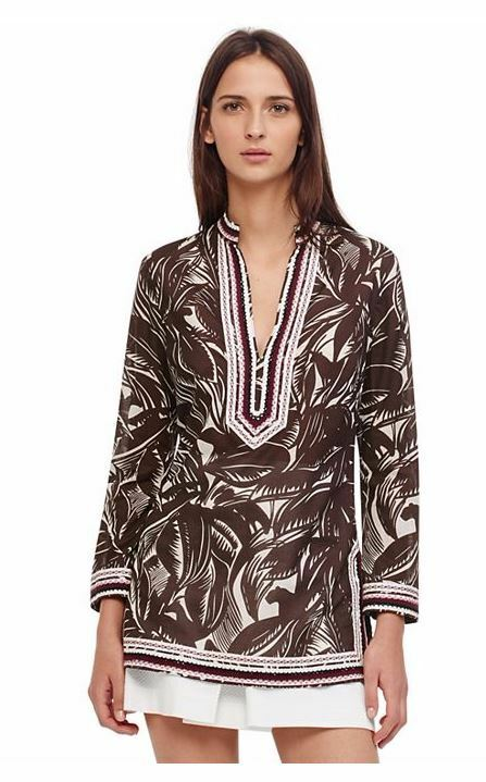 New Auth Tory Burch  Tory Printed Cotton Tunic Top,  Größe 0, 4, Final Sale