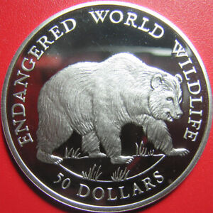 1990-COOK-ISLANDS-50-SILVER-PROOF-GRIZZLY-BEAR-ENDANGERED-WILDLIFE-CROWN-38-6mm